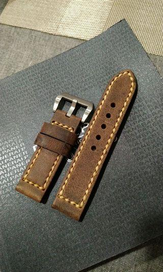24mm distressed dark brown calf military watch strap