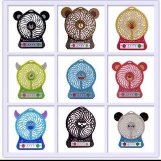 Cute Cartoon USB Rechargeable Fan Mini USB Fan Ultra Strong Wind 100% Long Lasting Rechargeable Lithium Battery  Powerful Fan Design : Elmo, Doraemon , Pooh ,minion ,melody And Many More .......