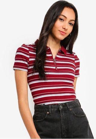 Nadine Zip Front Short Sleeve Top