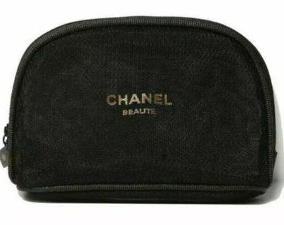 Chanel Black Mesh VIP Gift Cosmetic Pouch