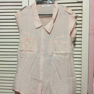 It girl pink sleeveless button down polo