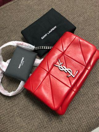 100%real 100%new Ysl angie diamond quilted crossbody bag lambskin in red