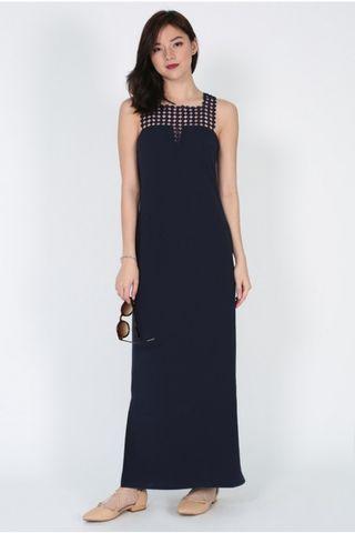 Love Bonito Naenie Crochet Maxi Dress in Navy Blue