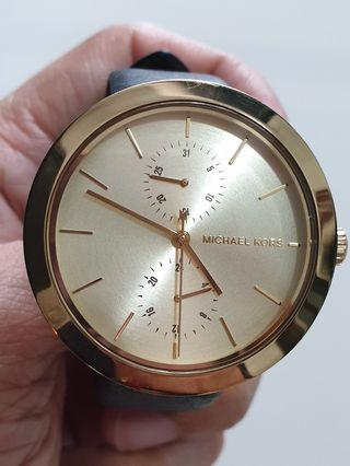 Authentic Michael Kors Garner Women's Gold Dial Leather Band Watch (MK2574)