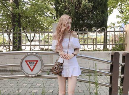 Blackpink Rose Dress Off shoulder mini sleeve set Korean inspired