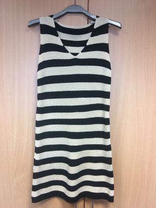 🚚 黑白條紋針織背心洋裝