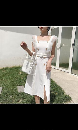 Korean Chanel Button Dress Short Sleeve Inspired Gown mesh lace top skirt set