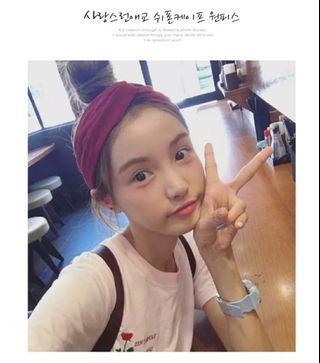 韓式頭箍/橙紅,姜黃,韓粉,黑紅鳥花