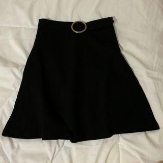 Black Mermaid Pencil Skirt with Ring Belt
