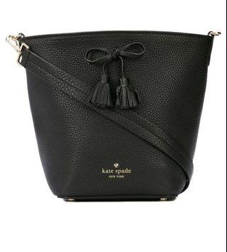Kate Spade - bow-embellished bucket bag - women - Leather - One Size - Black