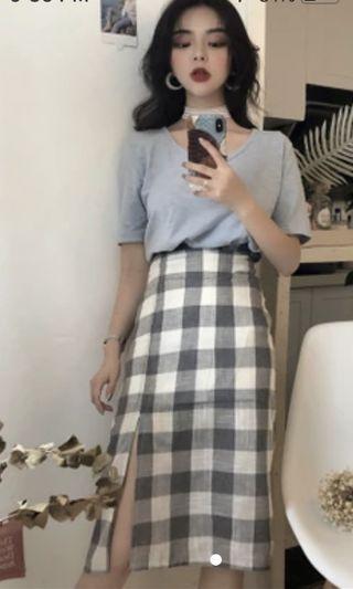 ulzzang checkered skirt