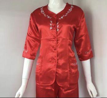中式紅睡衣(XS)