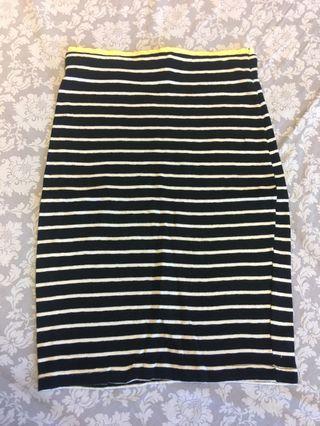 🚚 正韓黑白條紋針織及膝裙