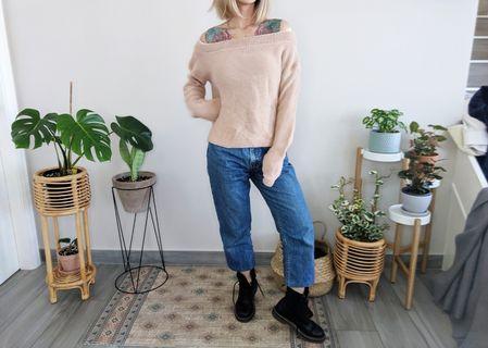 Dusty pink off shoulder knit jumper