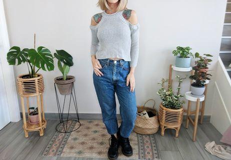 Grey crop cold shoulder knit jumper