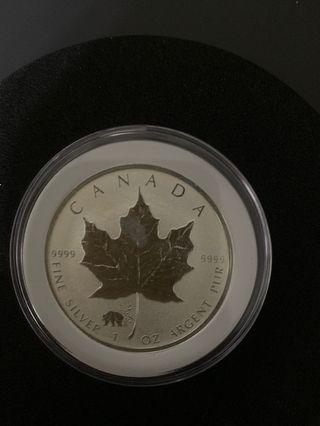 2017加拿大熊貓楓葉銀幣