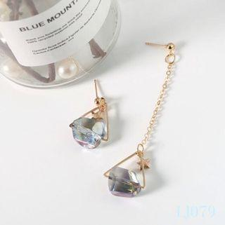 🚚 [3 for $15] Korean Shining Stone Mismatched Earrings