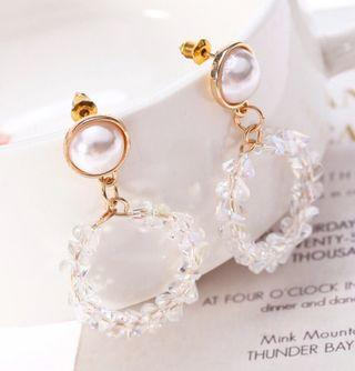 🚚 [3 for $15] Korean Crystal Hoop Earrings