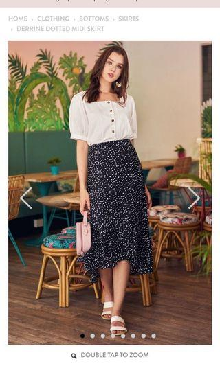 The Closet Lover Derrine Dotted Midi Skirt