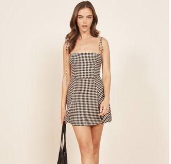 (instocks) presley reformation gingham checkered tie up dress