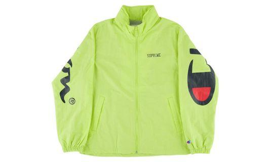 💯 AUTHENTIC SS18 Supreme x Champion Track Jacket Lime