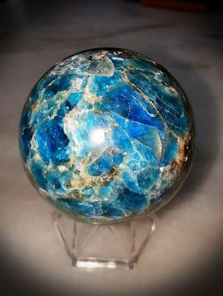 Rare!! Natural Blue Apatite Crystal Ball!