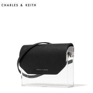 🚚 誠收 CHARLES & KEITH 小ck 透明硬殼翻蓋斜背包