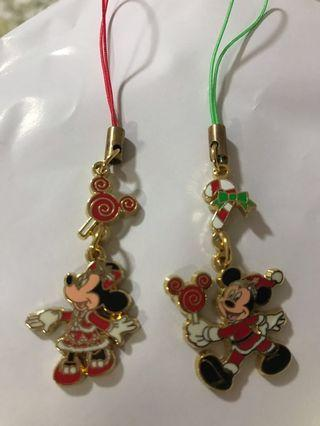 Disneyland Mickey and Minnie Mouse phone chain - merry Christmas