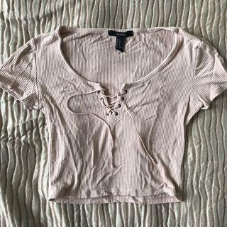 FOREVER 21 Ribbed crop t-shirt