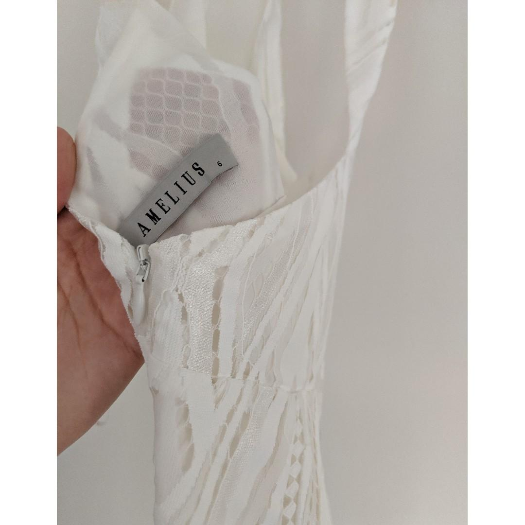 Amelius white eden lace maxi dress (cocktail, formal or hens dress) size 6