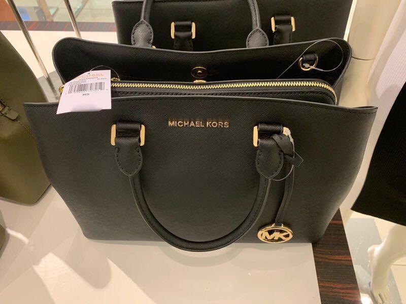 BNWT Brand New Authentic Michael Kors Handbag Black Savannah 35T9GS7S3L LG Large Satchel Leather 192877707059