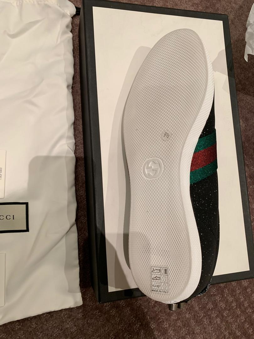 BRAND NEW AUTHENTIC Gucci Glitter Web Sneaker with Studs