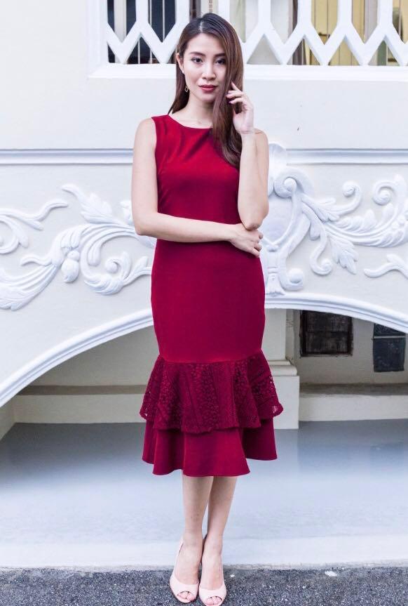 By PDC BNWT Mermaid Wine Red Dress