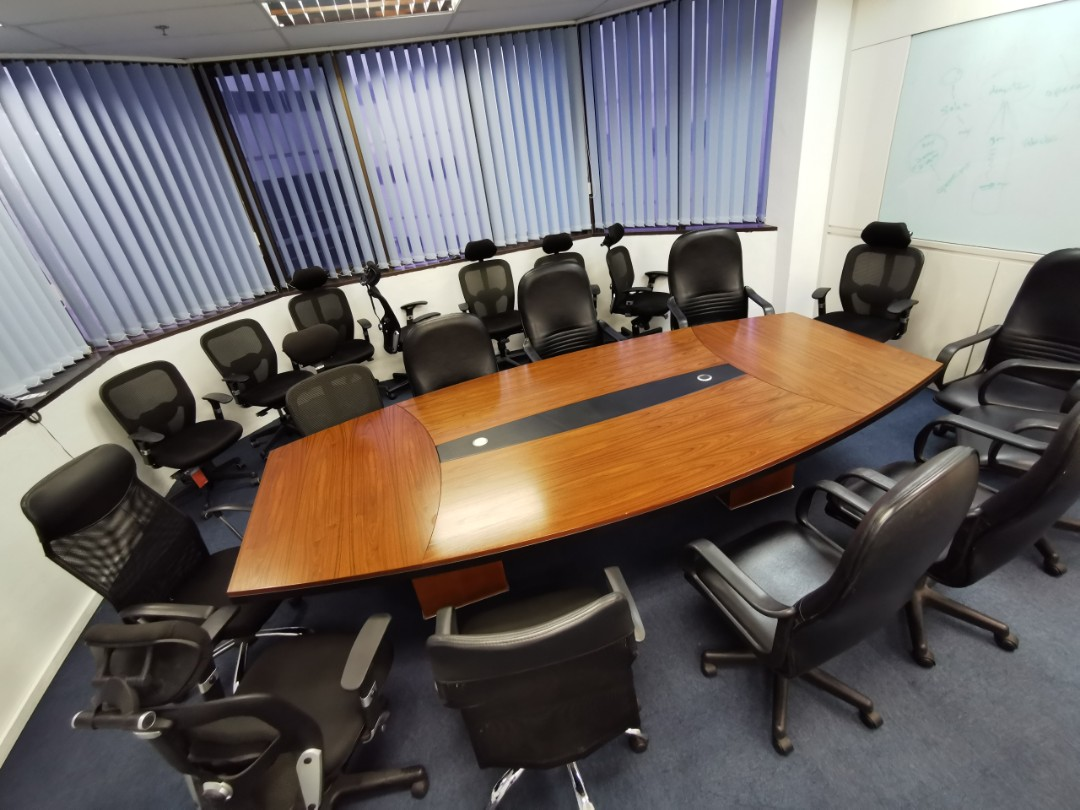Used Solid Wood Conference Table - 3 2m x 1 5m x 75cm(H)