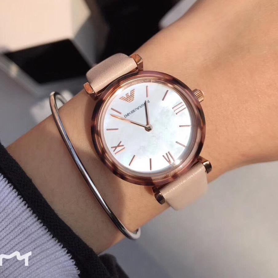 e6871117 Emporio Armani Pale Pink Leather Gianni T Bar Watch AR11004 ...