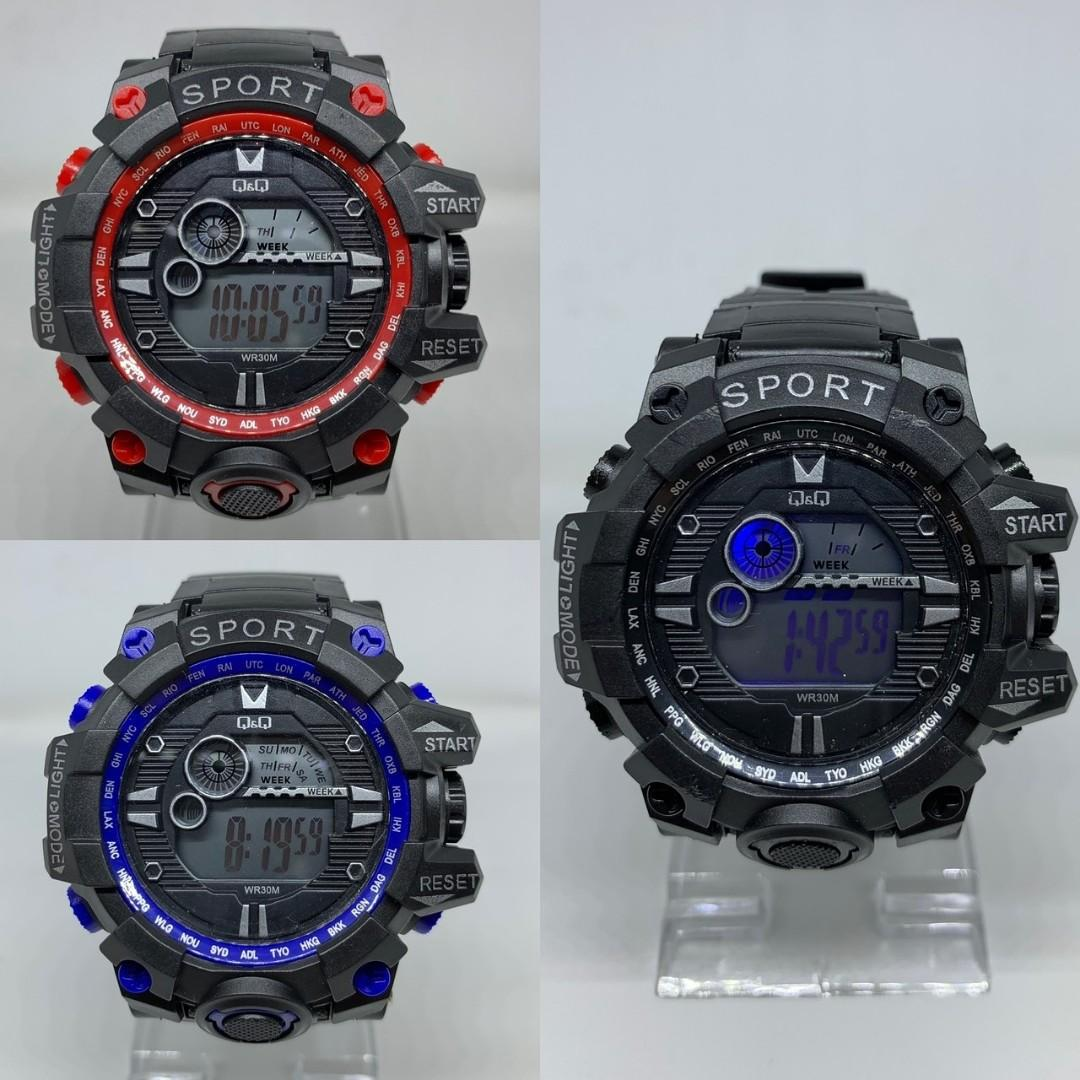 Jam Tangan QNQ CROWN DIGITAL  Digital diameter 5cm TAHAN AIR + LAMPU LED + STOPWATCH + ALAREM + TANGGAL + HARI + BULAN