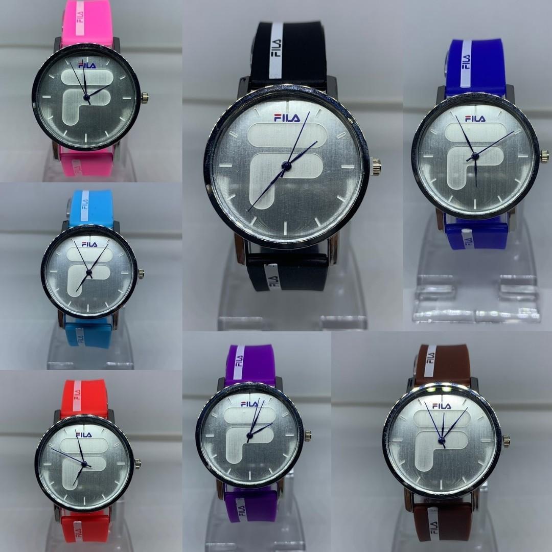 Jam tangan  STRIP COMMON FILA  Karet fila emboss F METAL diameter 4.5cm