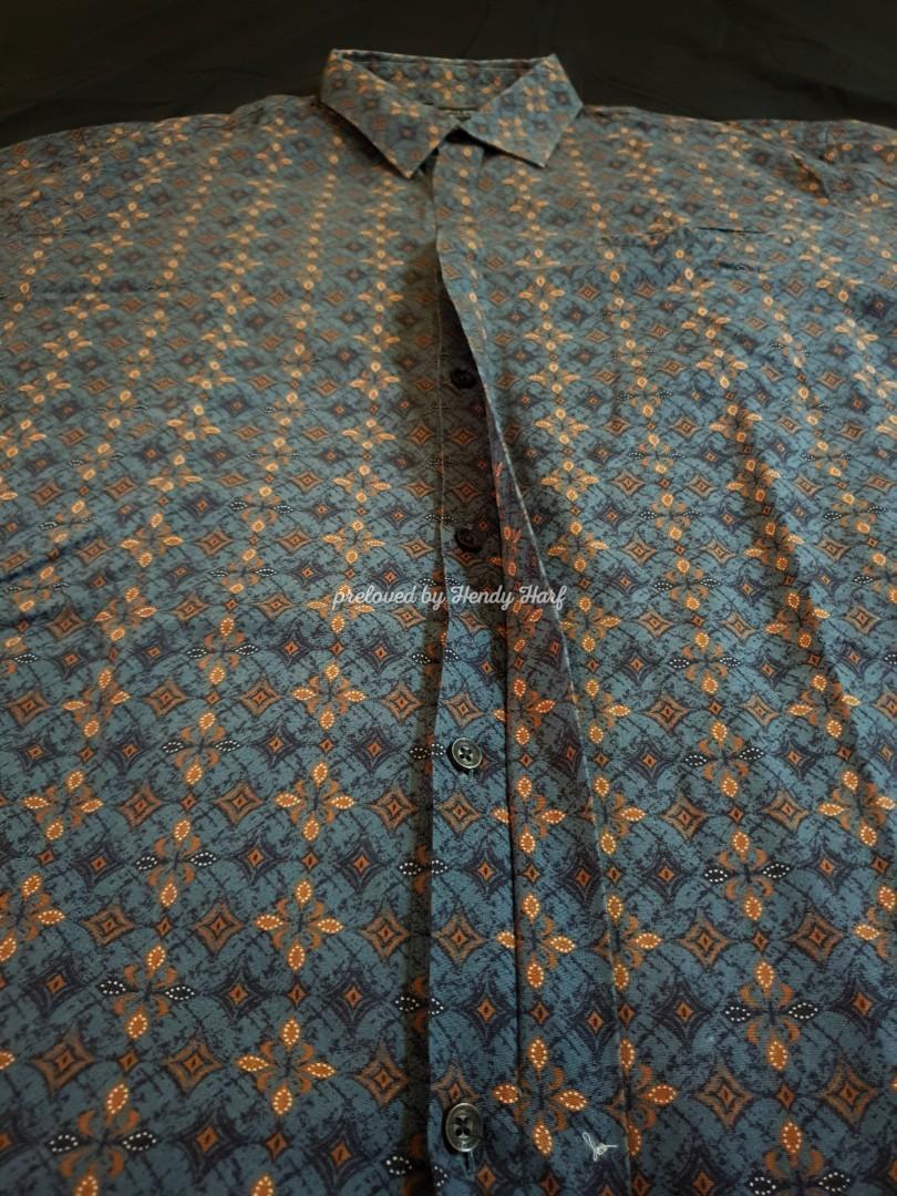 Kemeja Batik Semata Wayang Pria Print Bekas XL Lengan Pendek