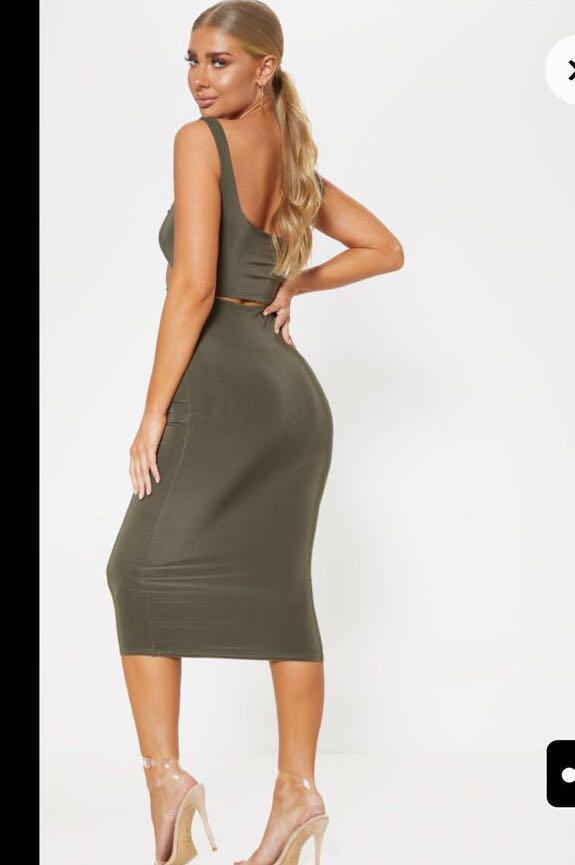 Khaki Midi cutout dress
