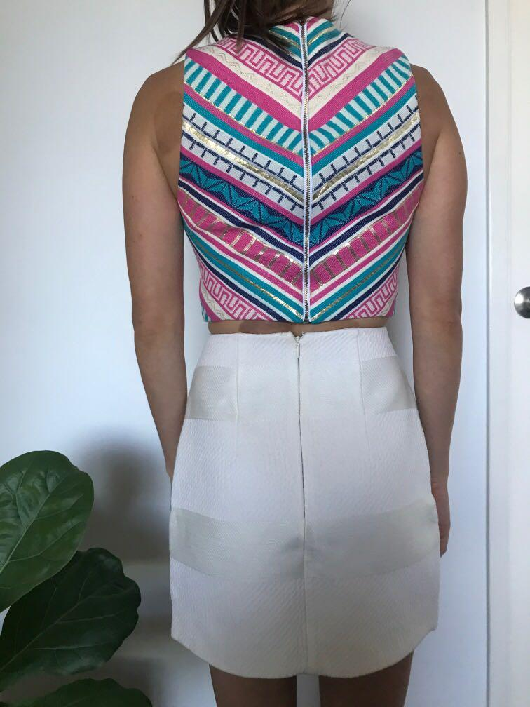 Kookai Mykonos Crop Top Size 36 with Kookai White Patterned Mini Skirt Size 36