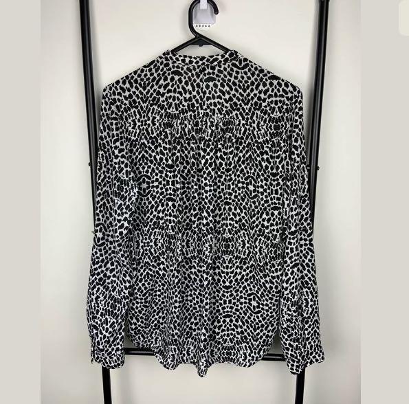 Mango sz S black white leopard cheetah animal print top shirt blouse work casual