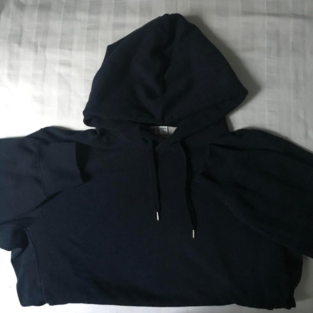 MEN Uniqlo U Long Sleeve Hooded Sweatshirt in Blue