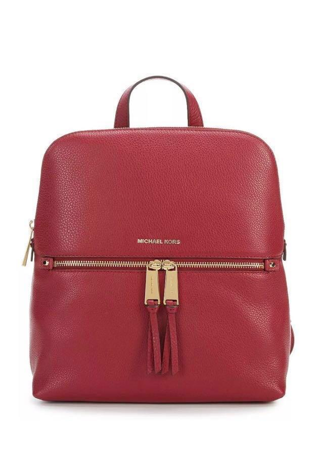 Michael Kors Rhea Slim Backpack Red Mulberry