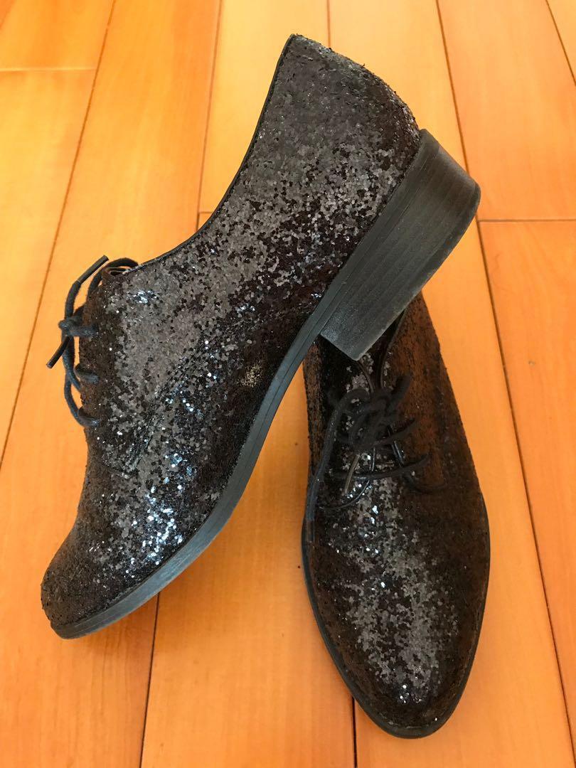 New Look Black Glitter Lace-up Shoes 黑色金粉綁帶鞋