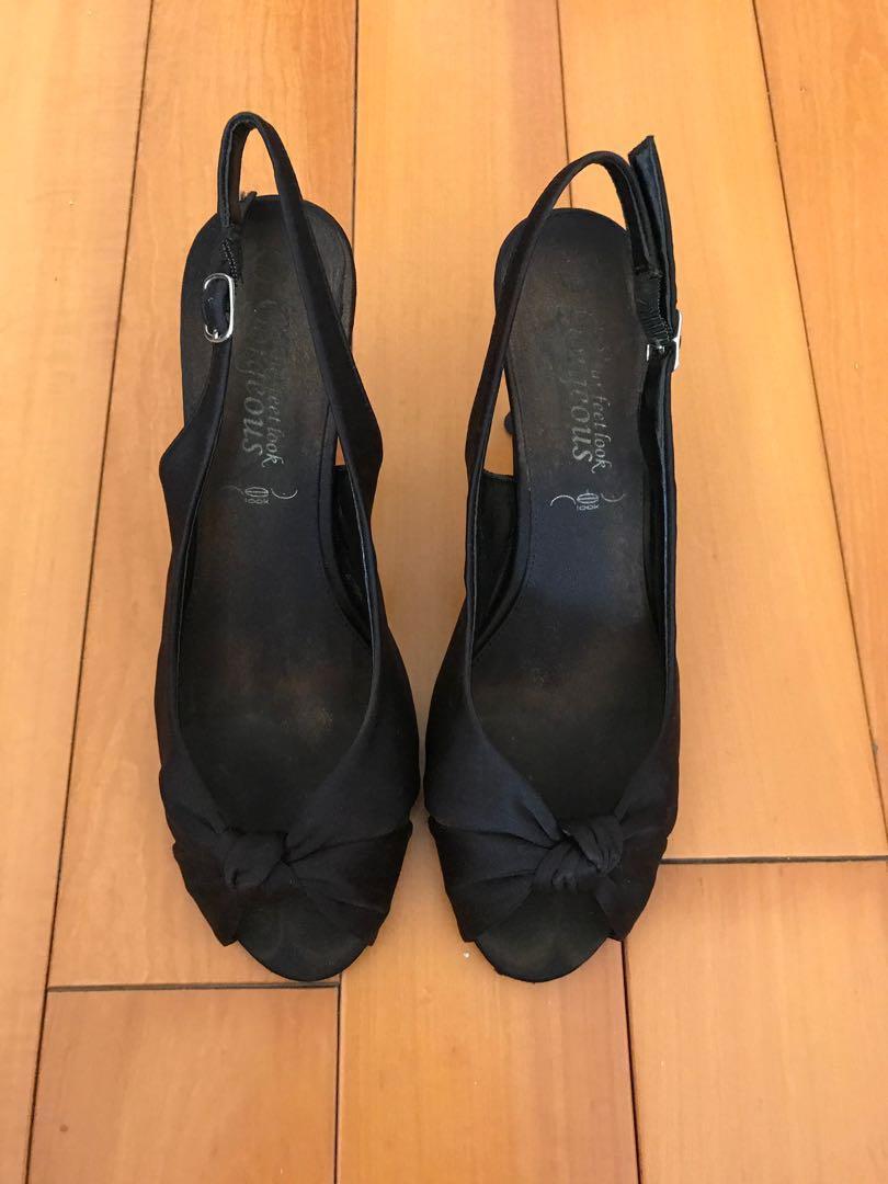 New Look black open-toe heels 黑色露趾高踭鞋