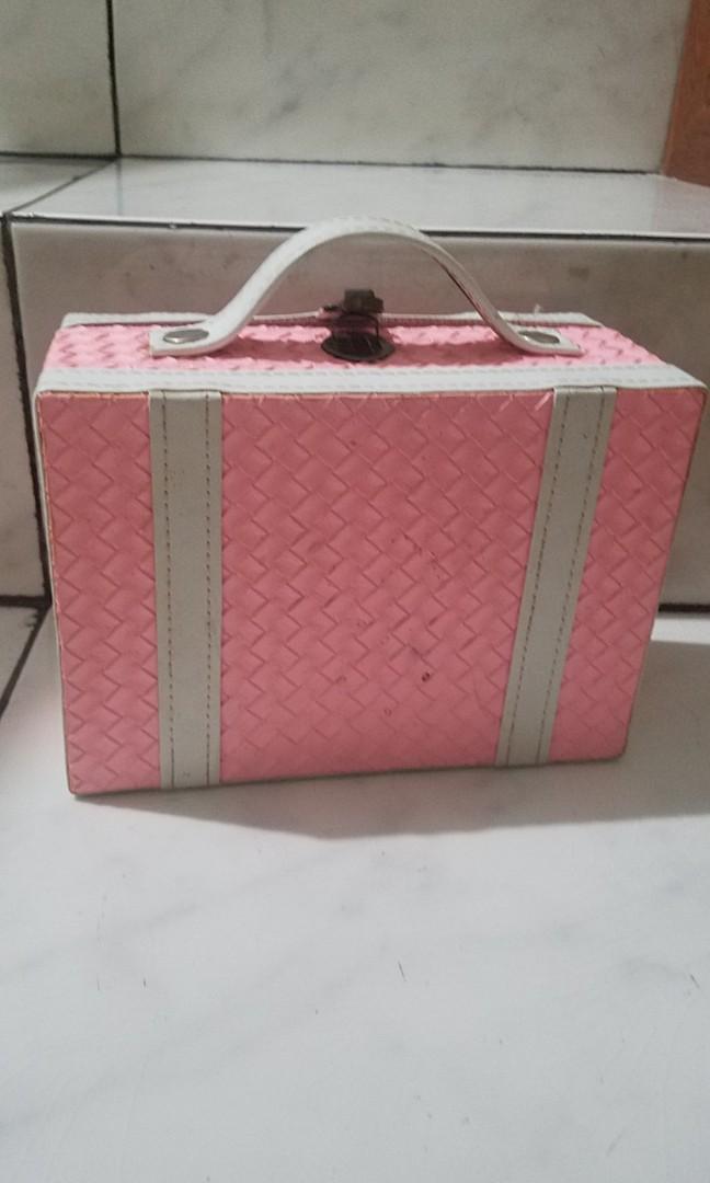 Pink box case for make up etc