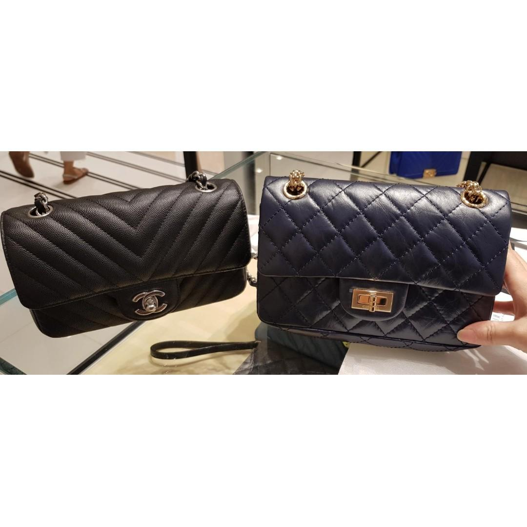 🦄RARE UNICORN mini rectangular!! 🦄 First time launched!!  *Chanel Navy black durable calf Reissue 2.55 mini bag*  Size even slightly bigger than mini rectangular With back pocket