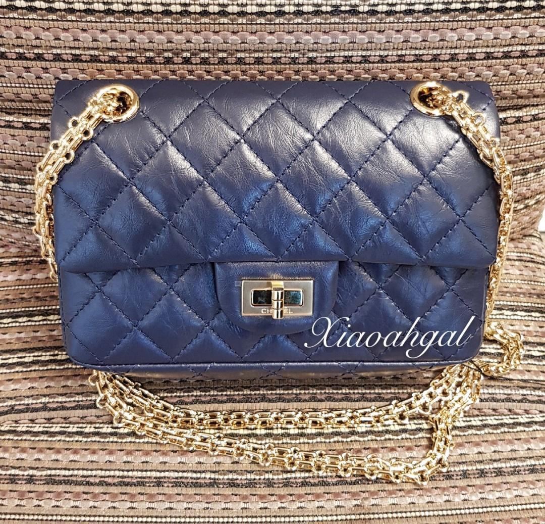 ✔RESERVED in Instalments✔🦄RARE UNICORN mini rectangular🦄 First time launched!! Chanel Navy black durable calf Reissue 2.55 mini bag