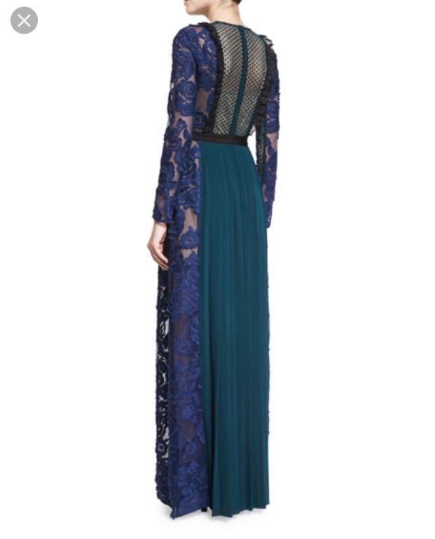 Self Portrait Thea Lace Paneled Guipure Maxi Dress