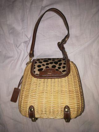 🚚 Leopard print rattan basket bag